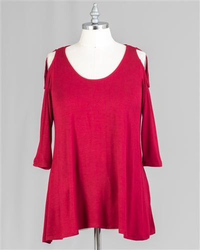 Dark Red Cold-shoulder Knit Top