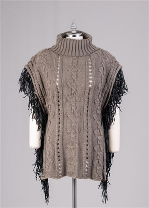 Turtle Neck Sweater Poncho with Fringe