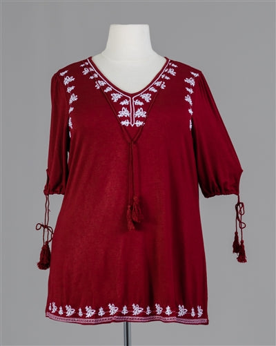 Burgundy Embroidered PlusSize Top
