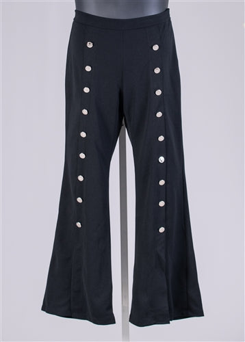 Black Side Zip Button Trim Split Flare Leg Pant