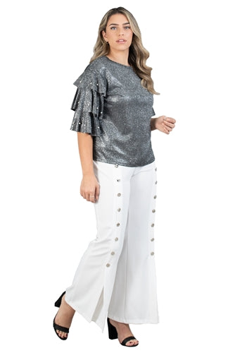 White Wide Zip Button Trim Split Flare Leg Pant