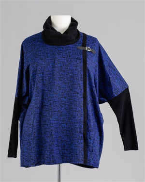 Blue Cowl Neck Buckle Top