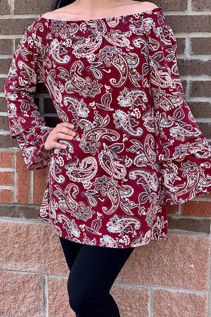 Burgundy Long bell sleeve off the shoulders paisley printed blouse