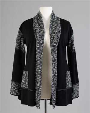 Black Wool Look Cardigan W/ Tie Front