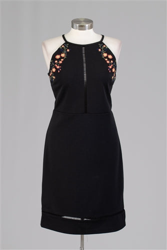 Black halter embroidered dress