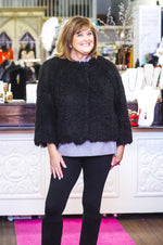 Black Snap Closure Fuzzy Knit Jacket
