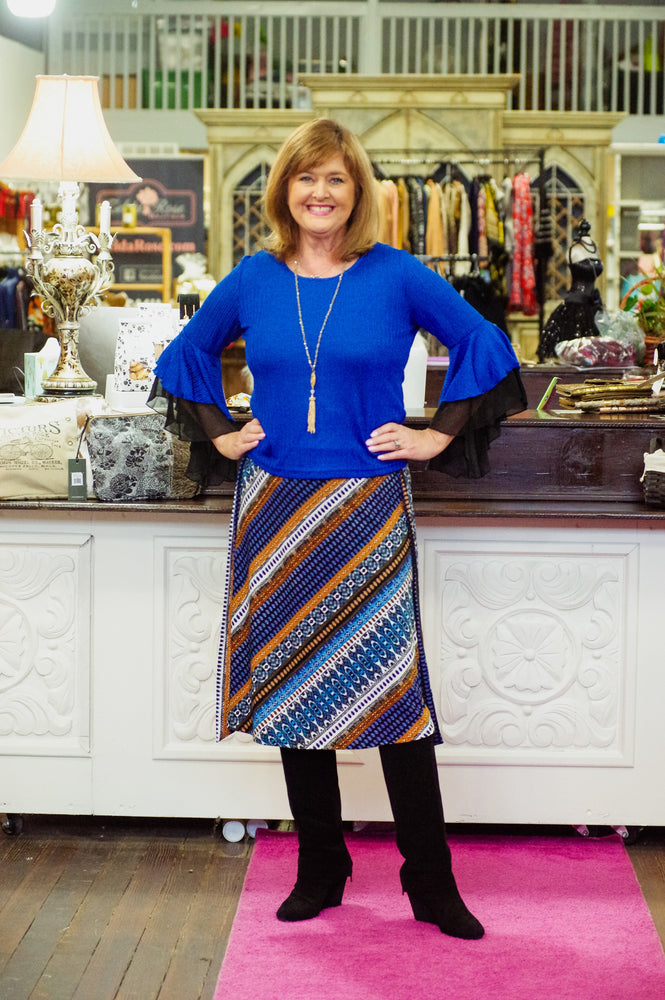 Blue/Brown Print Tie Skirt
