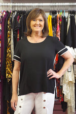 Black Short Sleeve with White Trim Top