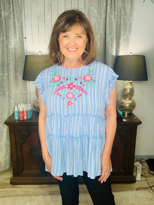 Light Blue Stripe/floral embroidery ruffle blouse