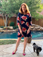 Navy and pink floral pocket dress