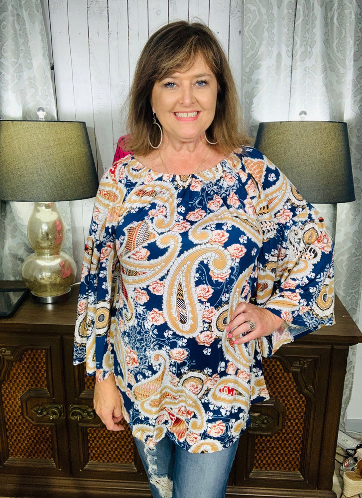 Off the shoulder paisley top w/bell sleeves