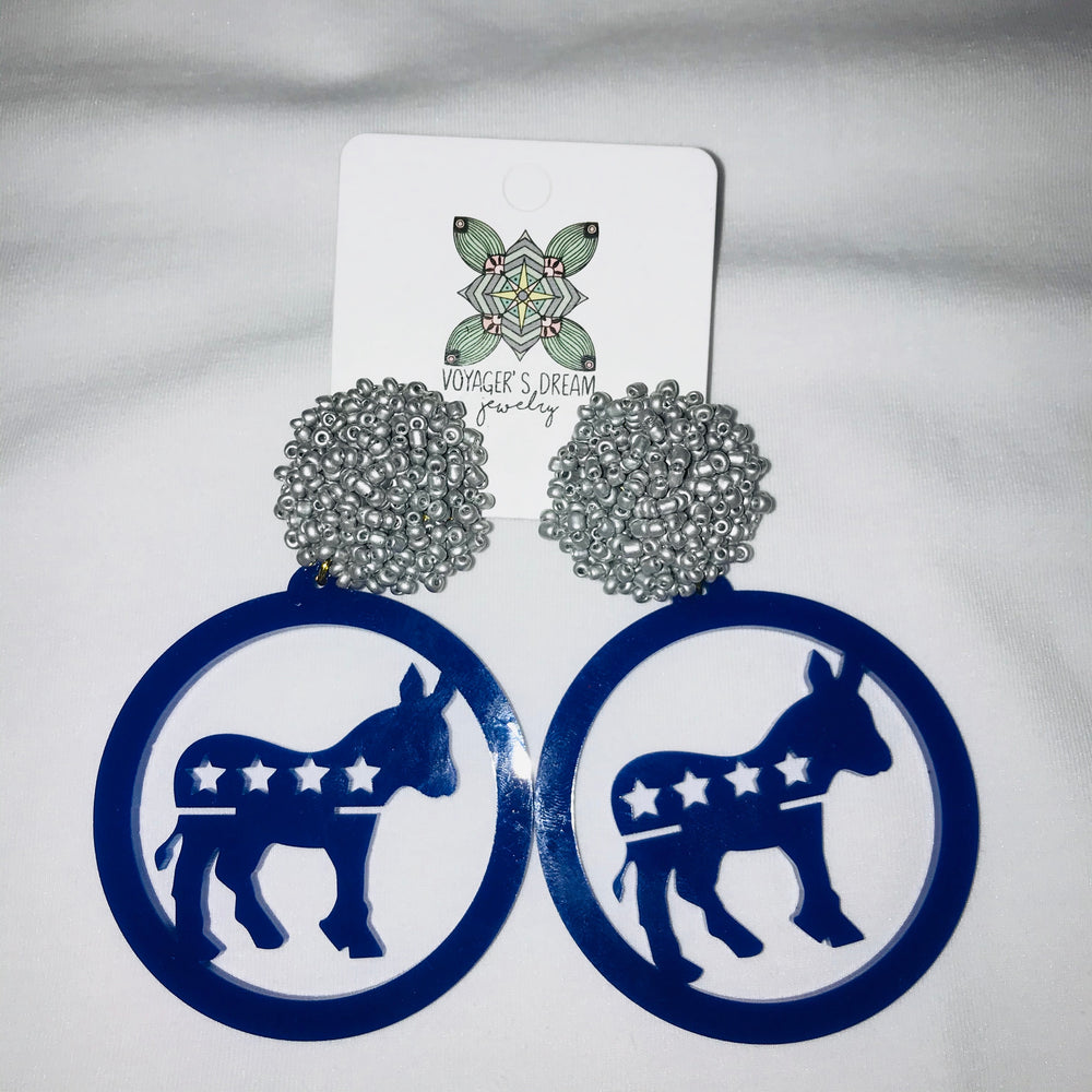 Blue elections donkey with red, white and blue earrings