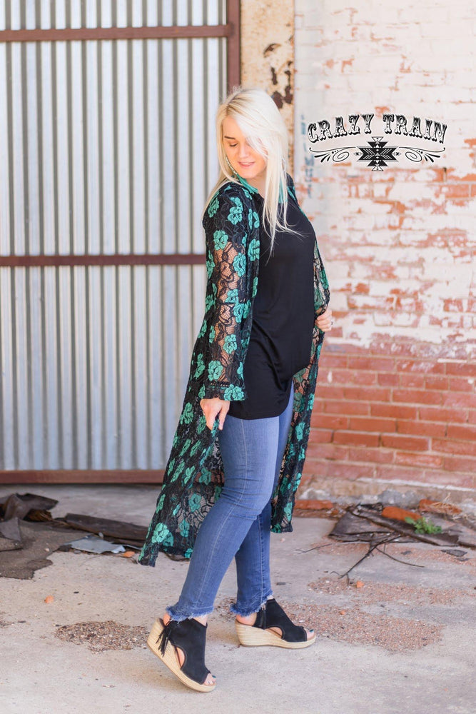 Black and Turquoise Lace Duster