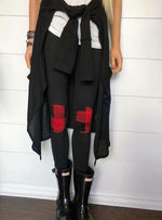 Black Leggings with Buffalo Plaid Patch