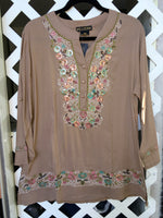 Beige Short Tunic with Green Embroidery