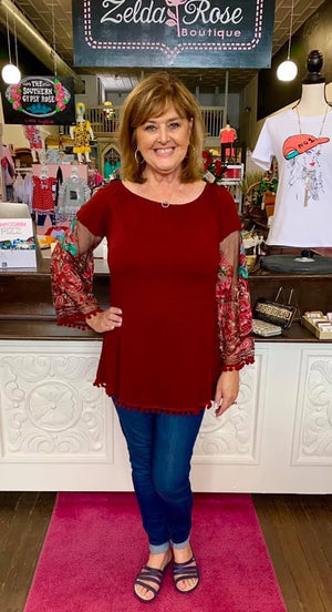 Burgundy Sheer Floral Sleeve Top