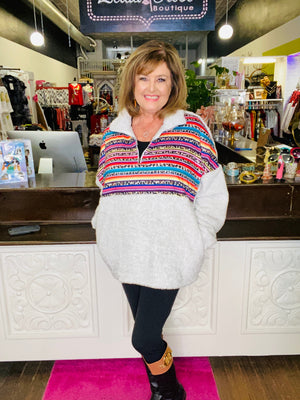 Ivory Serape Leopard Sherpa with Pockets