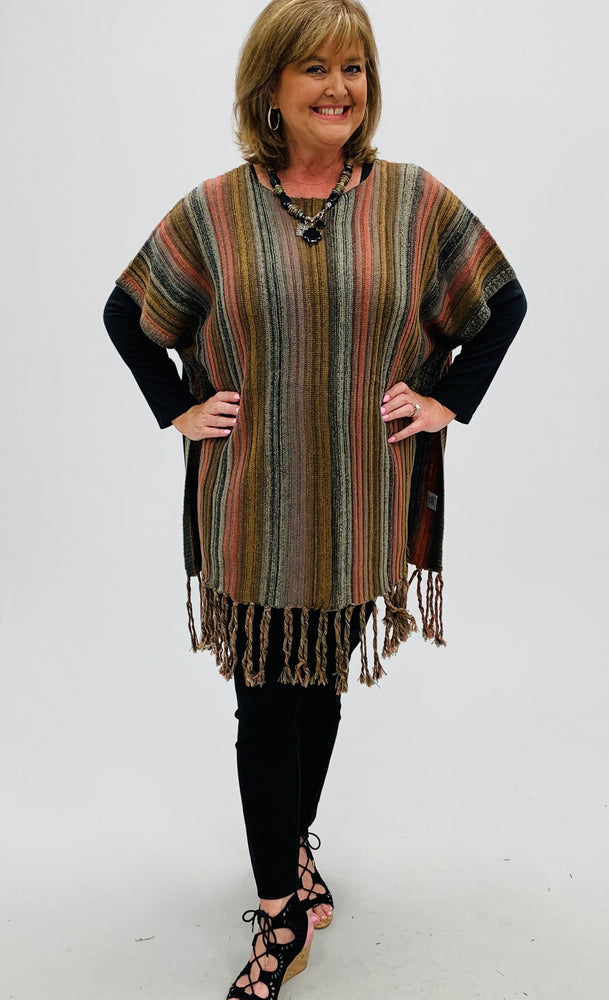 Striped Fringe Trim Long Knit Tunic Top