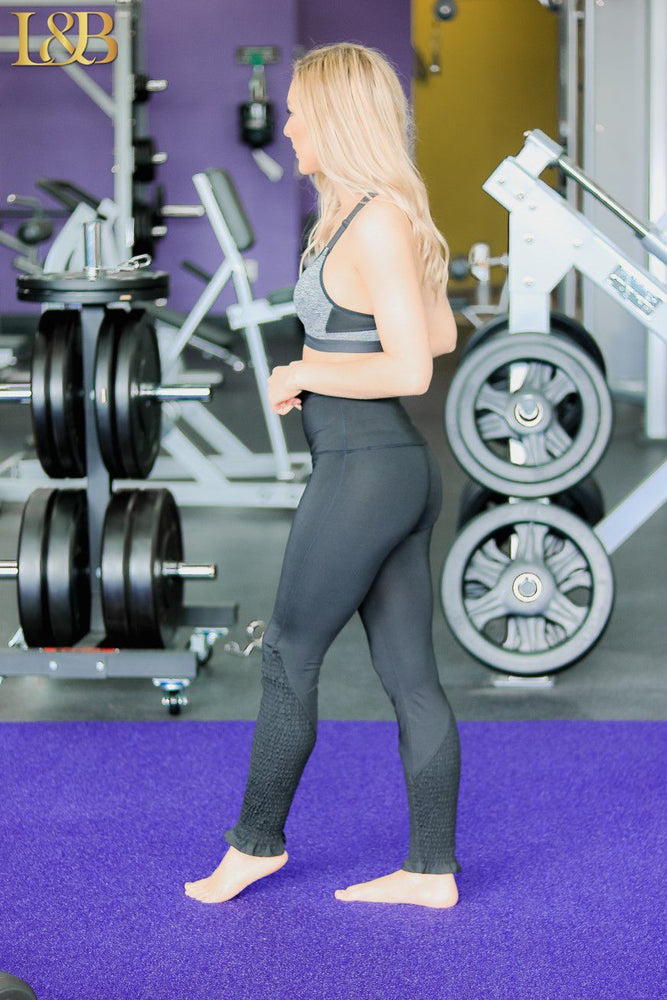 Black Smocked Active Wear Pants