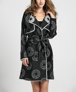 Black Circle Print Belted Trench Style Coat