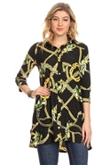 Gold Rope 3/4 Sleeve Knit Tunic Top