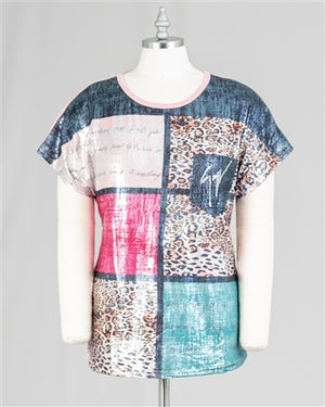 Shimmer Knit Graphic One Size Top