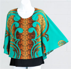 Green Reptile Poncho Top with Camisole