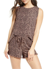 Leopard ruffled loungewear set