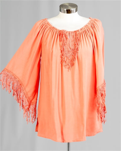 Papaya Fringe Trim Peasant Top