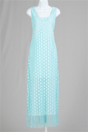 Turquoise lace maxi with fringe