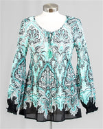 Green Pleated Paisley Border Print Top