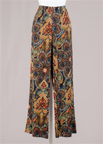 Blue Gold Red Print Knit Pant