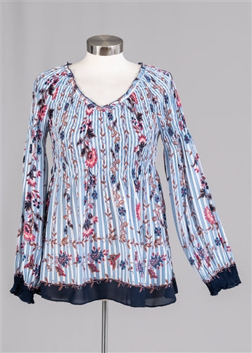 Blue V-Neck Long Sleeve Smocked Floral Top