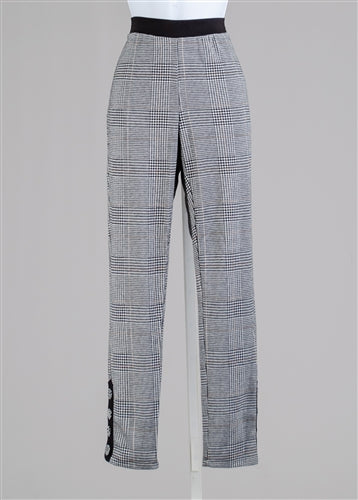 Black Plaid Ponte Pull On Pant