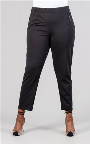 Black Zipper Trim Solid Ponte Knit Pant