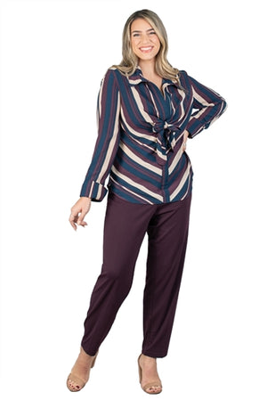Wine Zipper Trim Solid Ponte Knit Pant