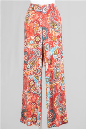 Coral Pleated Paisley Print Knit Pull-on Pant