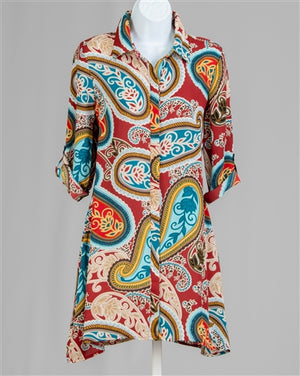 Paisley Print Button Front Tunic
