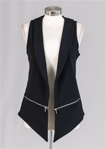 Black Zipper Trim Vest