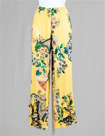 Yellow Black Paisley Print Pant