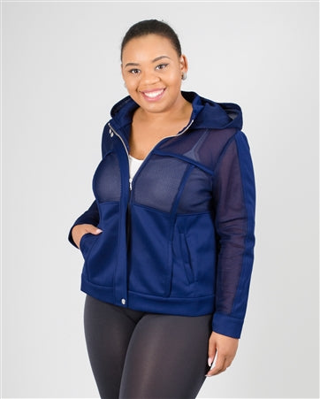 Blue Hooded Mesh PlusSize Jacket