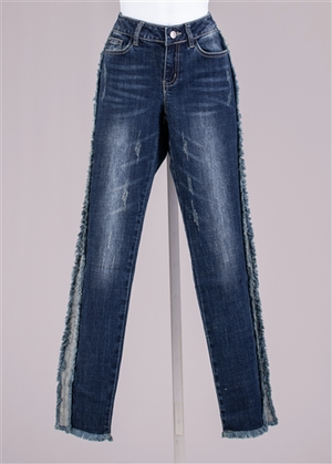 AZI Jeans with Denim Fringe Trim