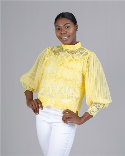 Yellow Lace Vision Top - T5570