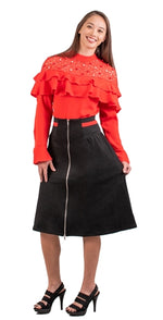 Black Suede Skirt with Red Stripe Waist