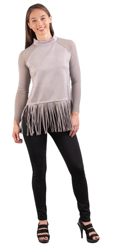 Gray Faux Suede Fringe Top