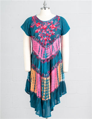 Turquoise and pink embroidered cap sleeve dress