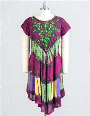Plum embroidered cap sleeve dress