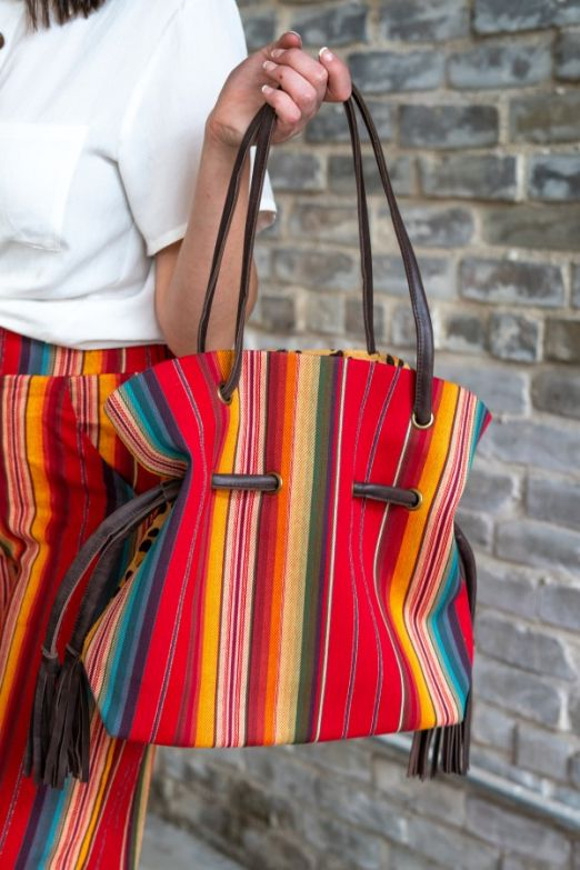 Red serape and leopard tote bag