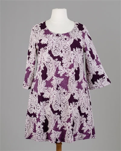 Purple Paisley Print Dress