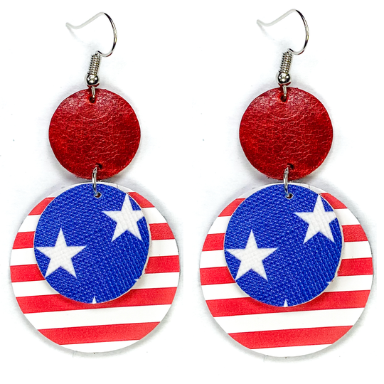 "Vintage Red Star Disc 2"" Earrings"